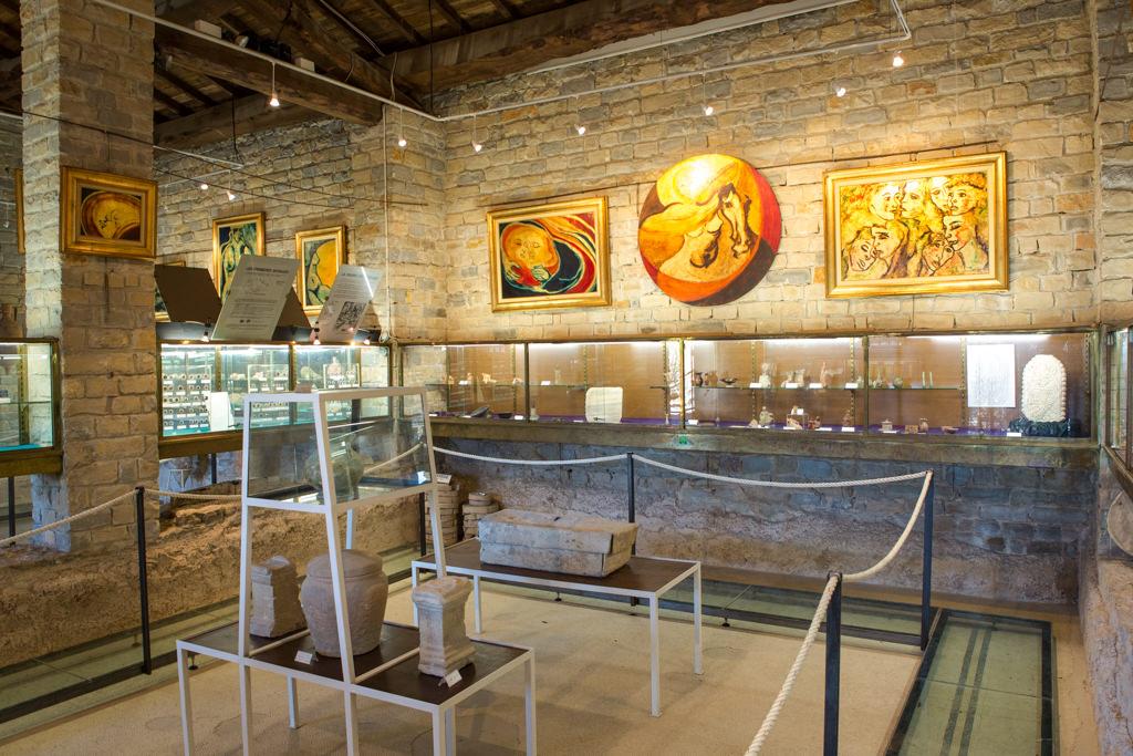 Salle intérieur du musée de Tauroentum vitrines et vestiges