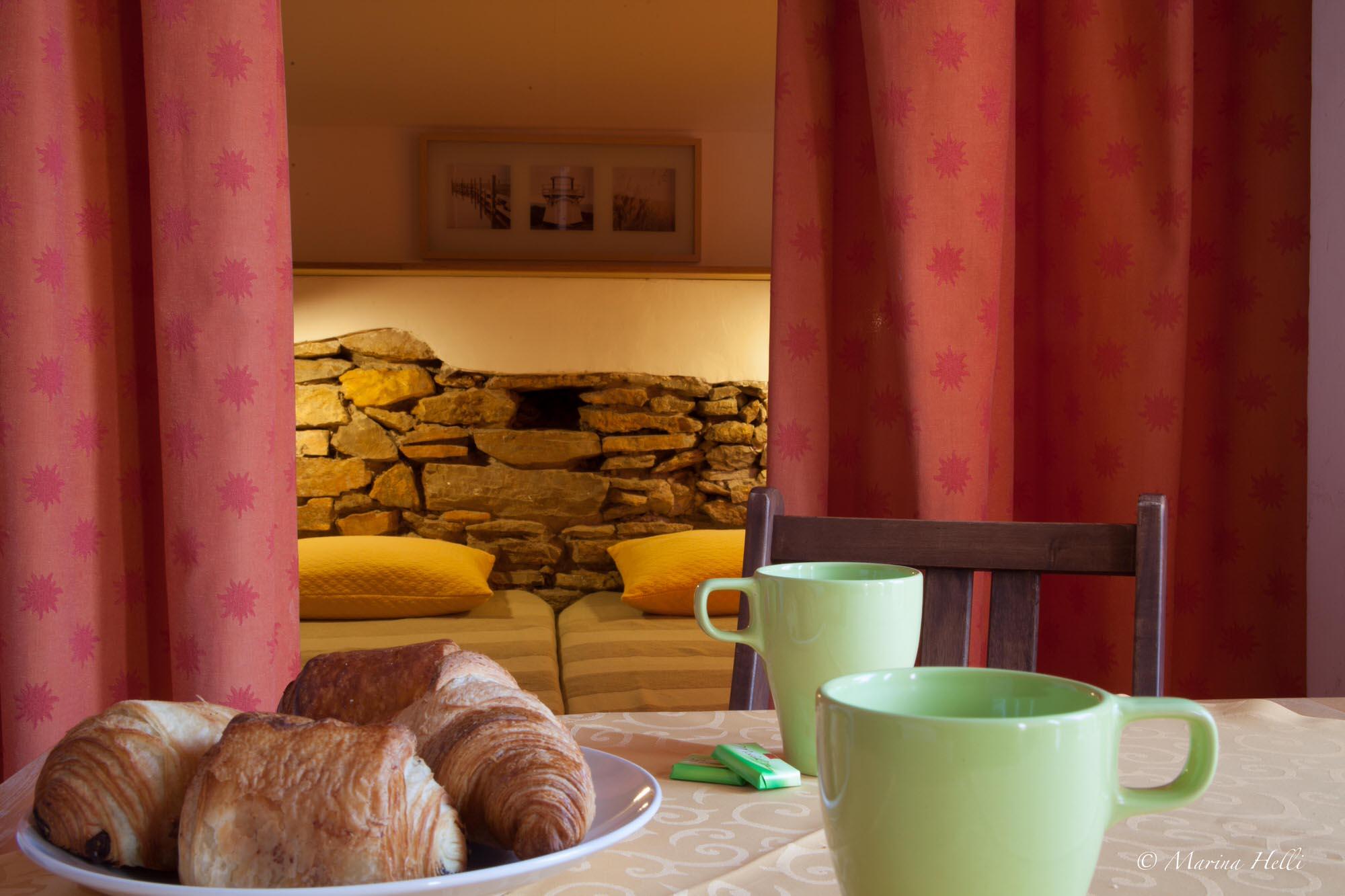 vue chambre avec petit déjeuner